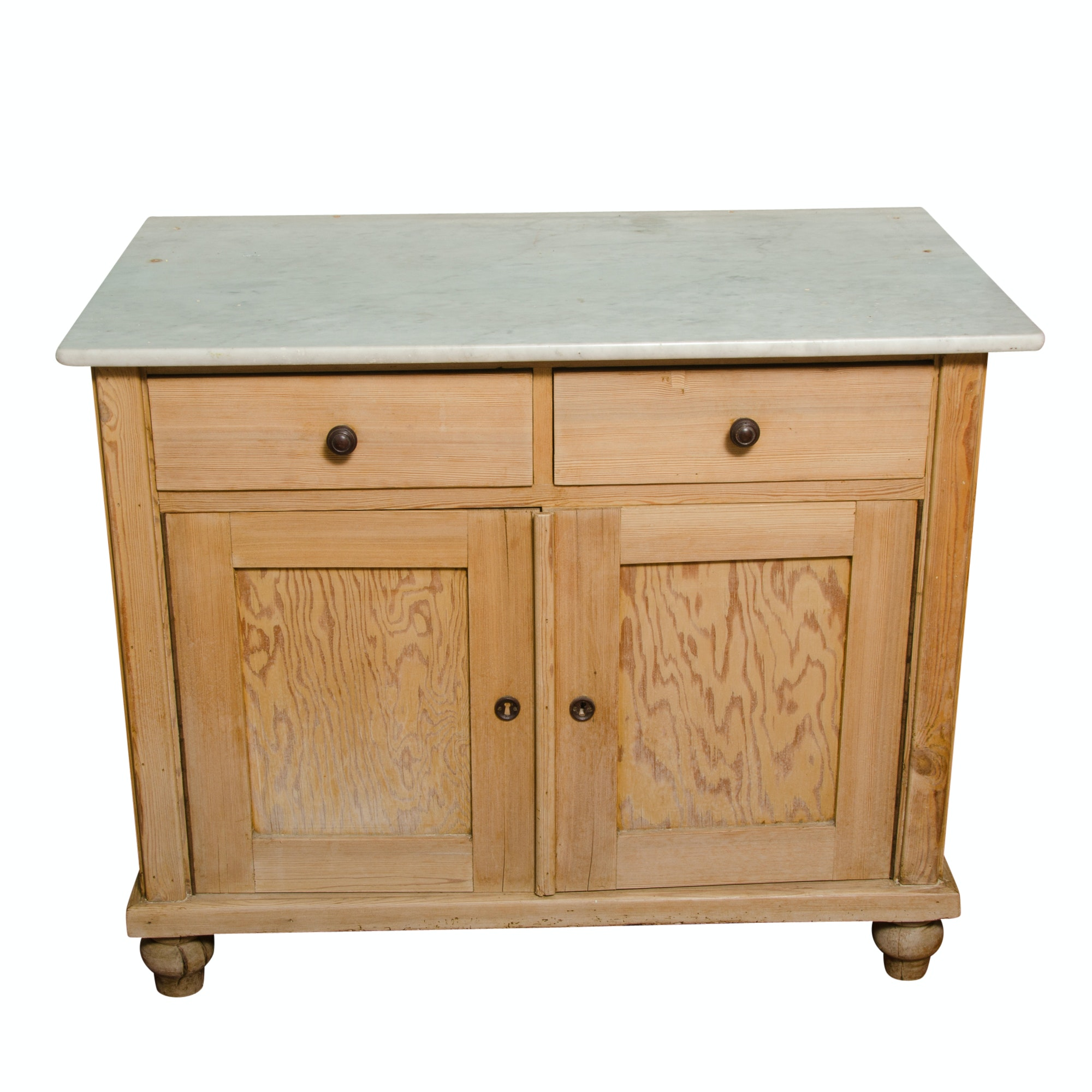 Antique Marble Top Pine Cabinet