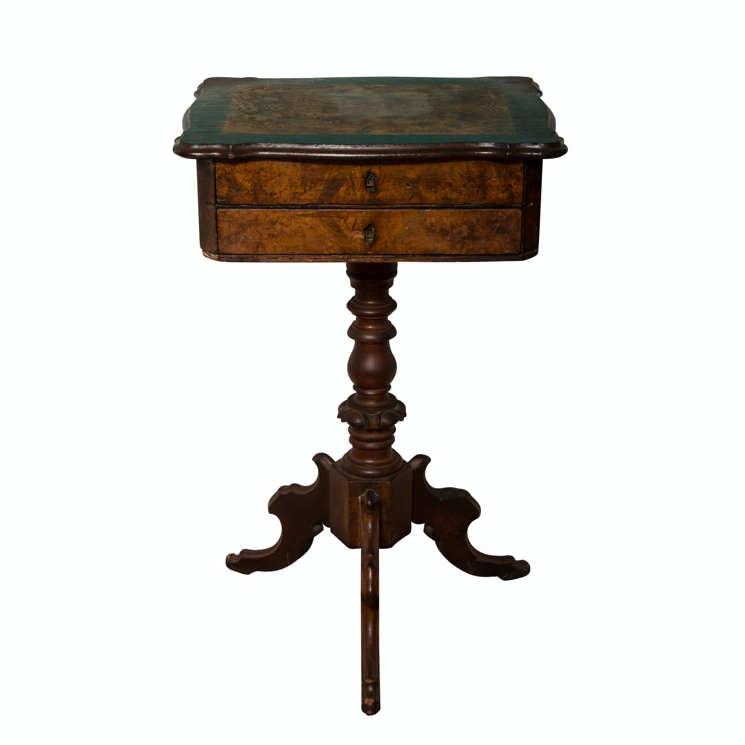Antique Burl Walnut Sewing Table