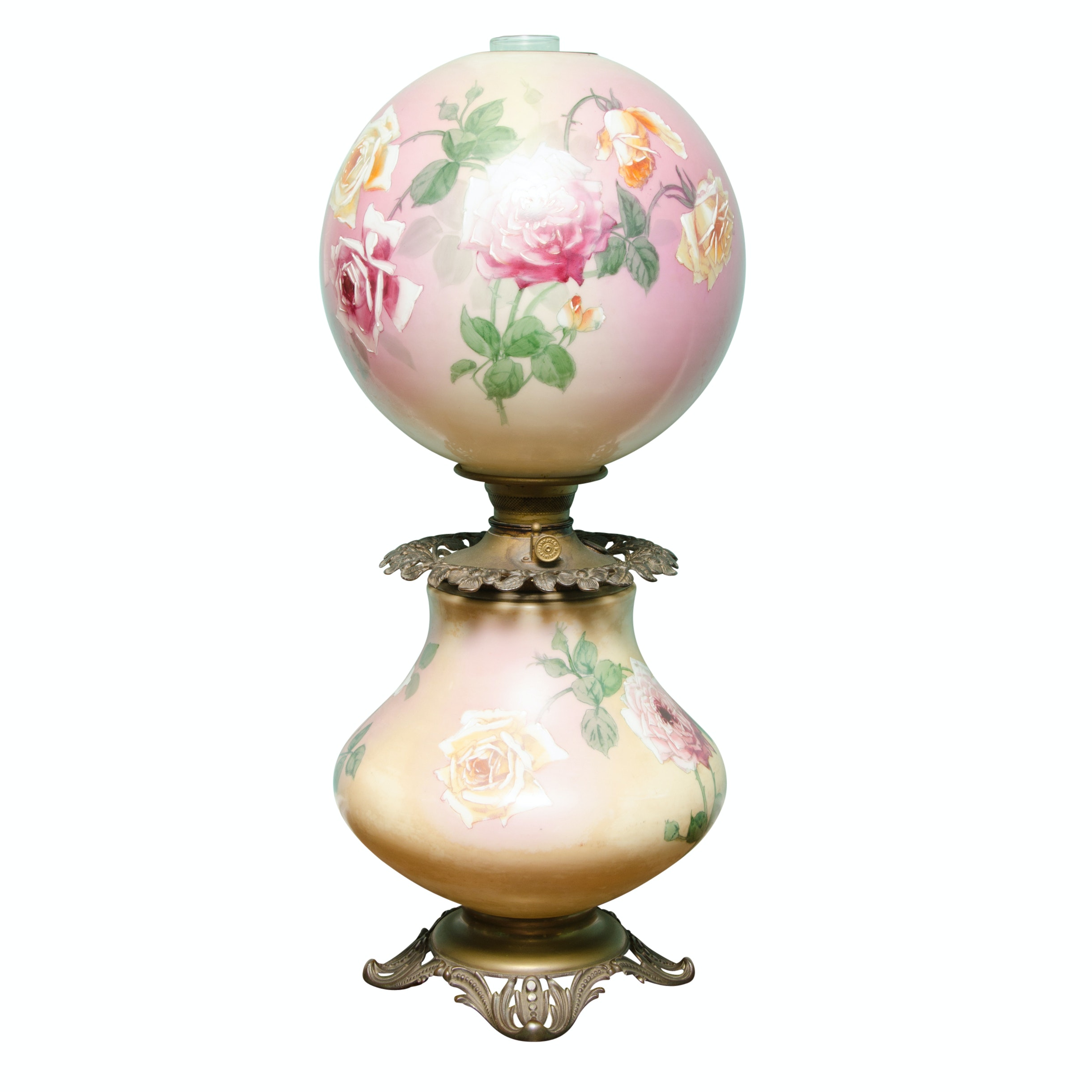 Antique Hand-Painted Parlor Lamp