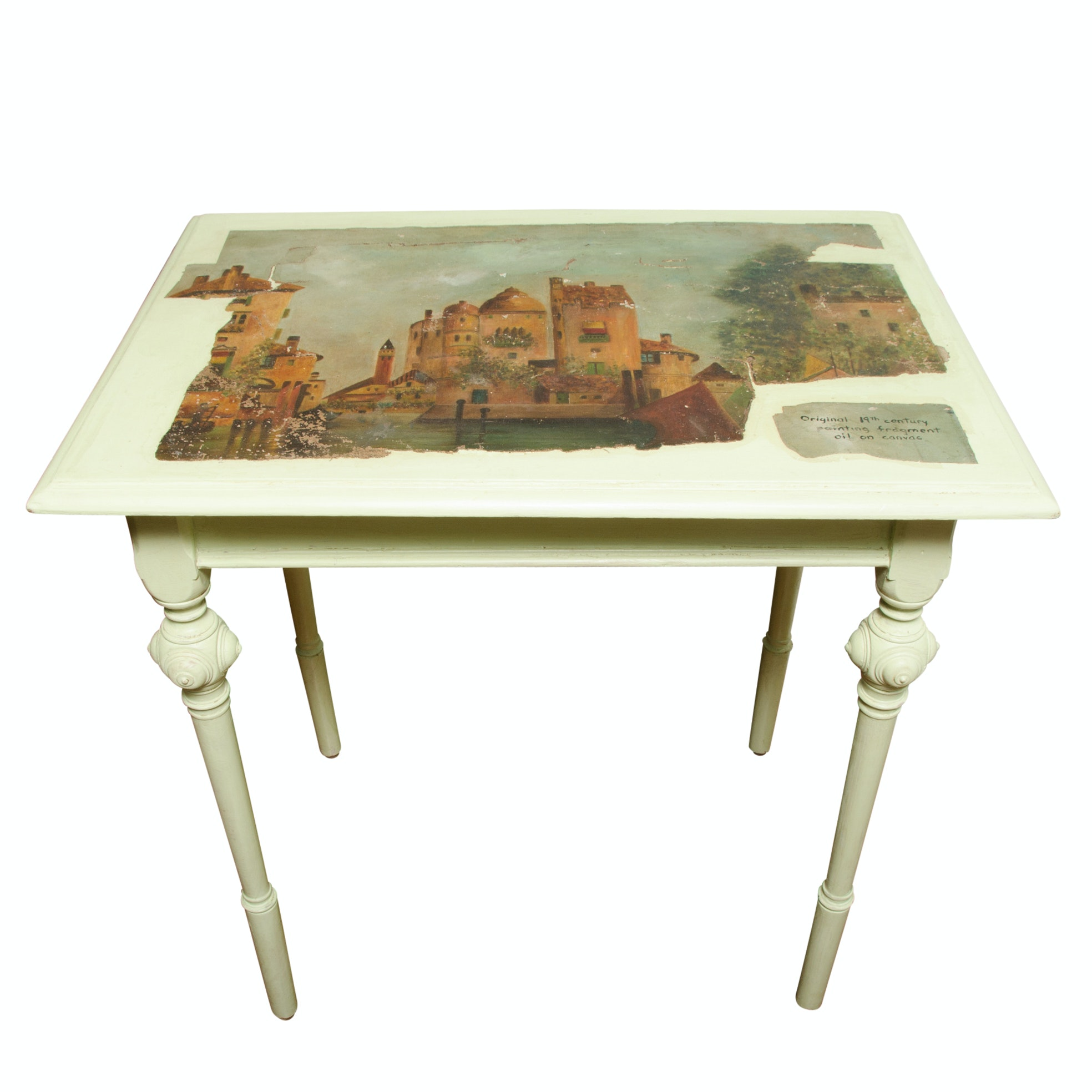 Vintage Painted Table with 19th Century Oil Painting Fragment