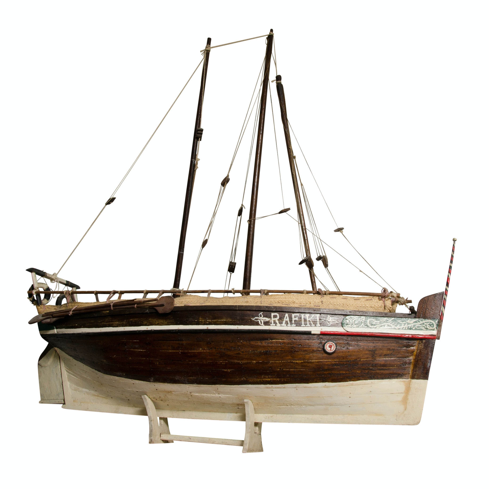 """Hand-Painted Model of Three-Masted Sailing Ship """"Rafiki"""" on Stand"""