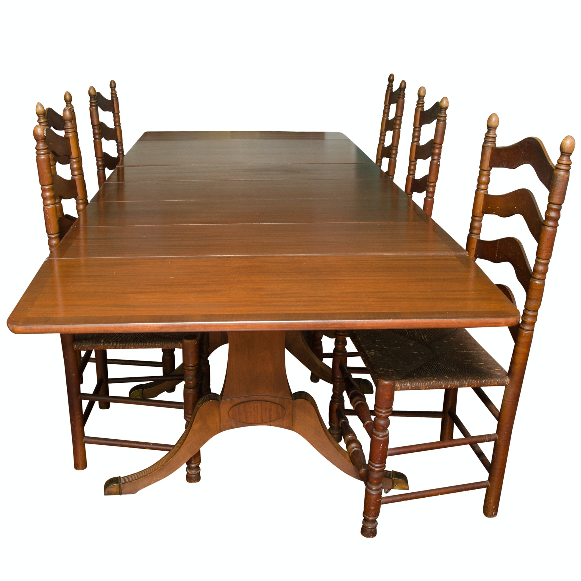 Watertown Slide-Table Drop Leaf Dining Table With Leaves and Ladderback Chairs