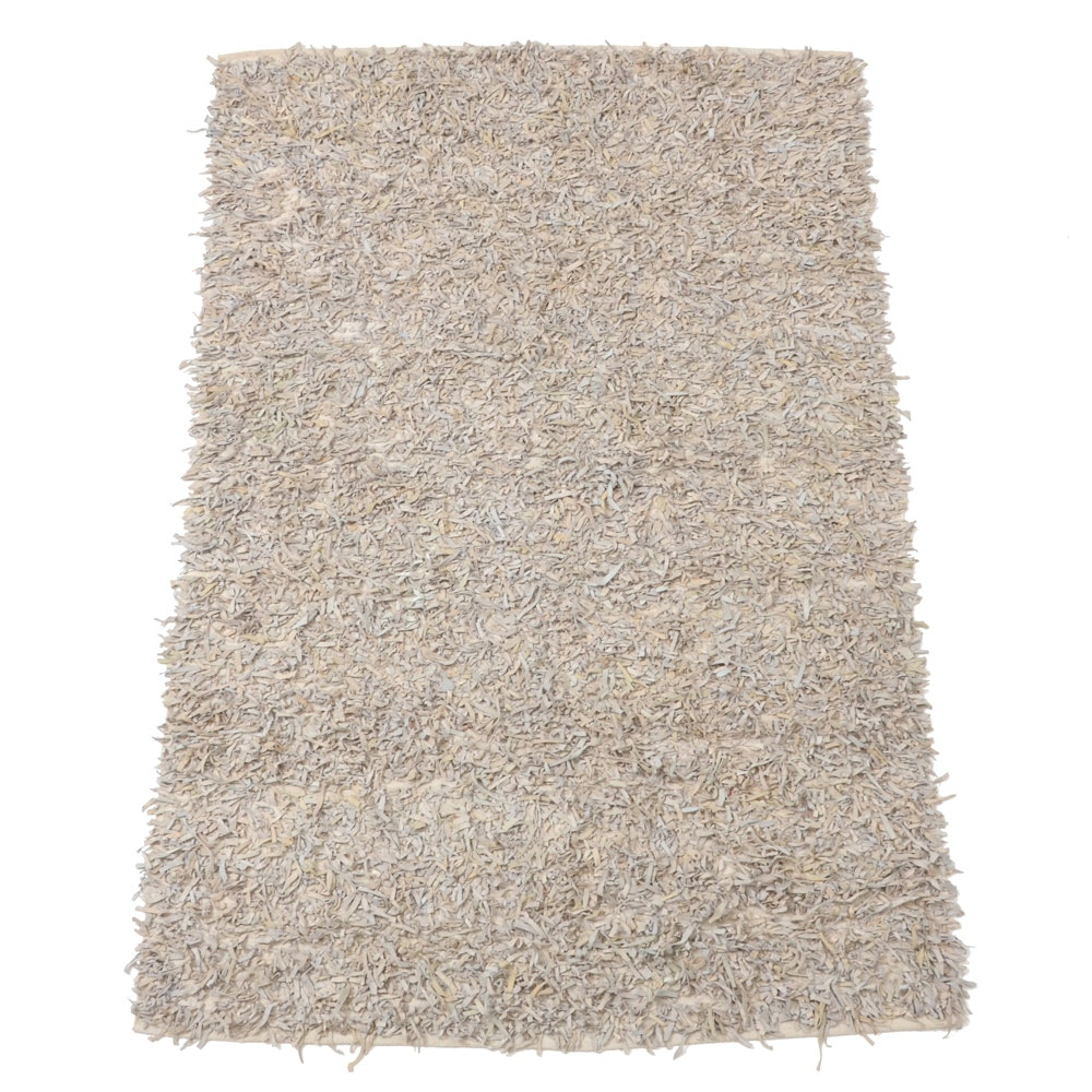 Leather and Cotton Shag Area Rug