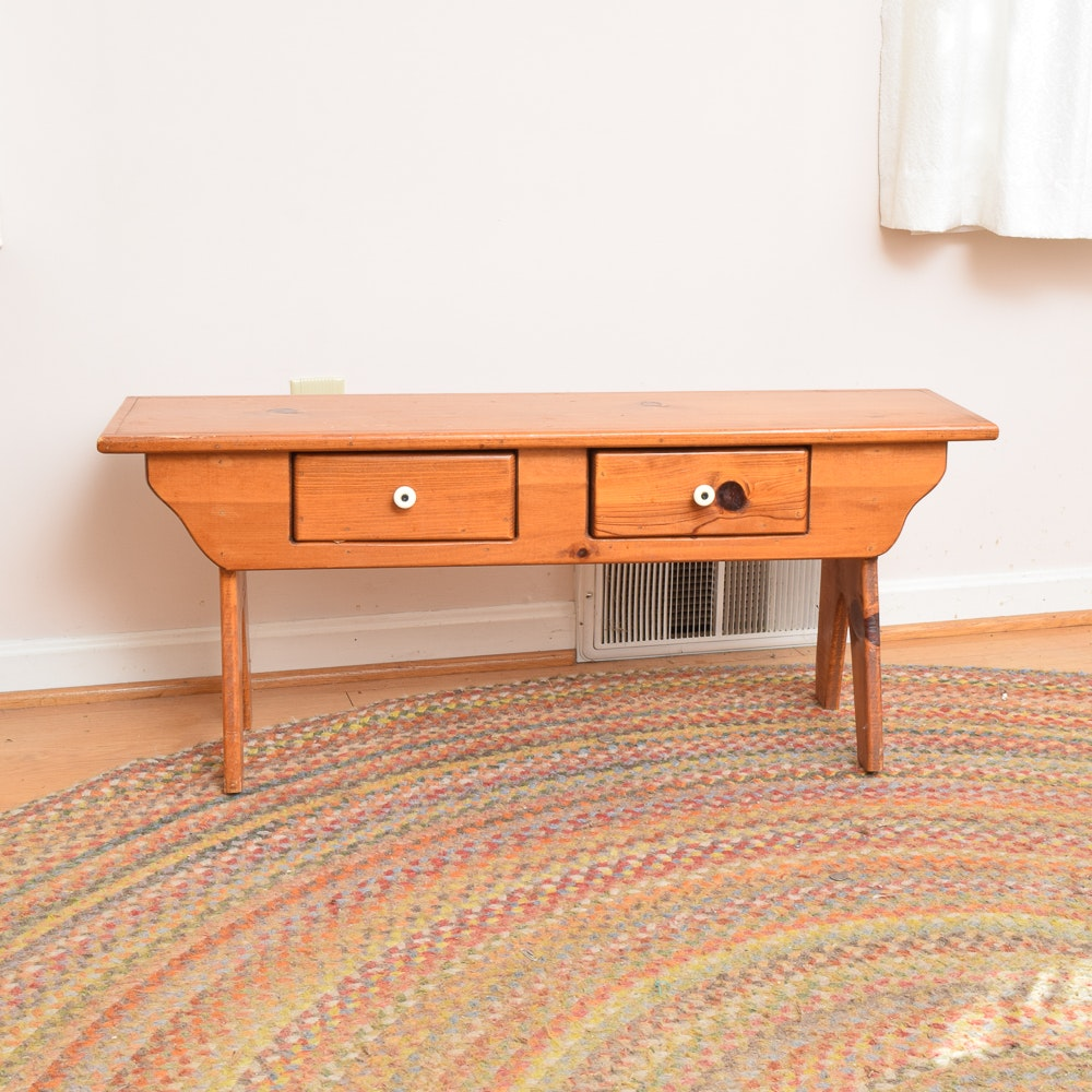 Vintage Pine Two-Drawer Console Table
