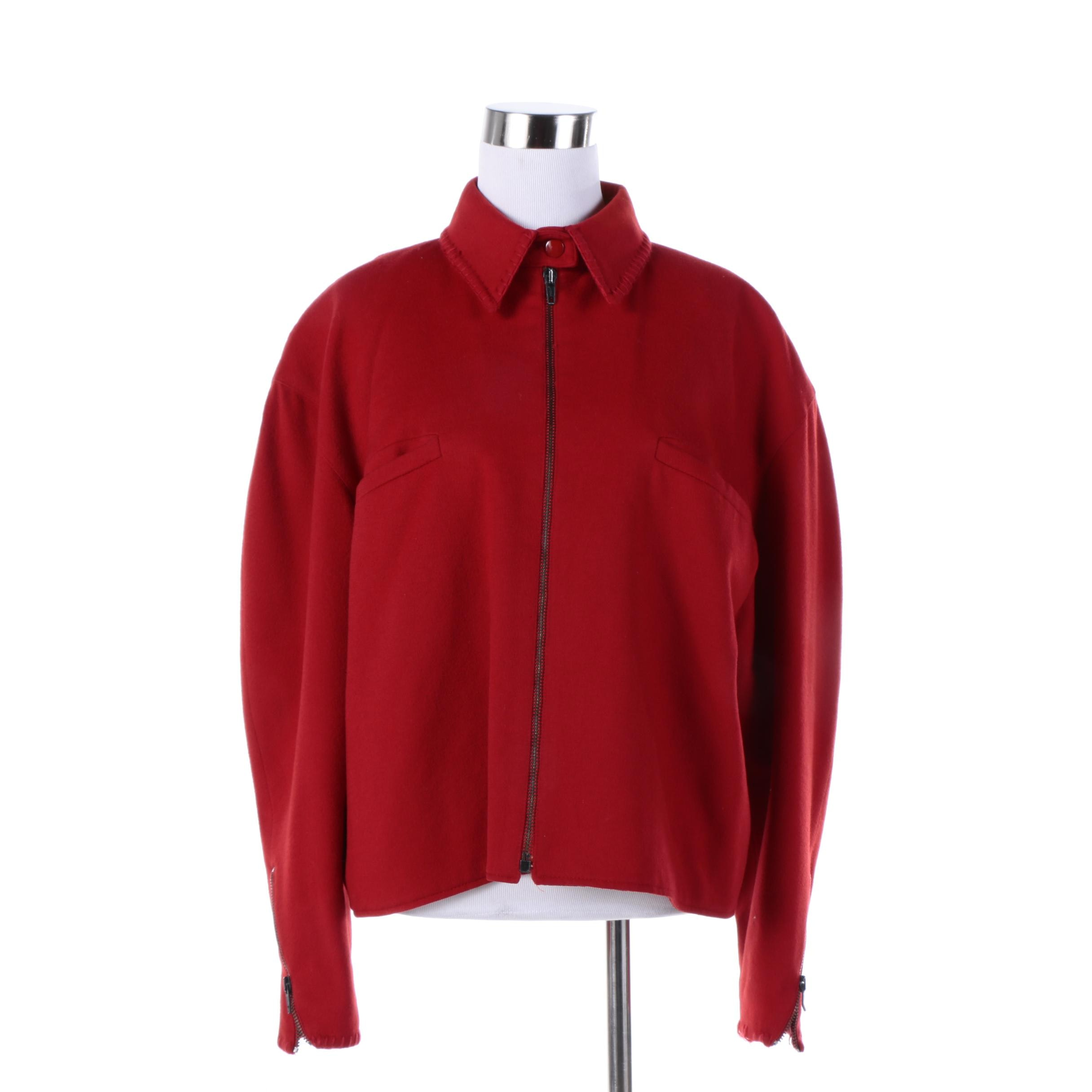 Women's Claude Montana Red Wool Zipper-Front Jacket