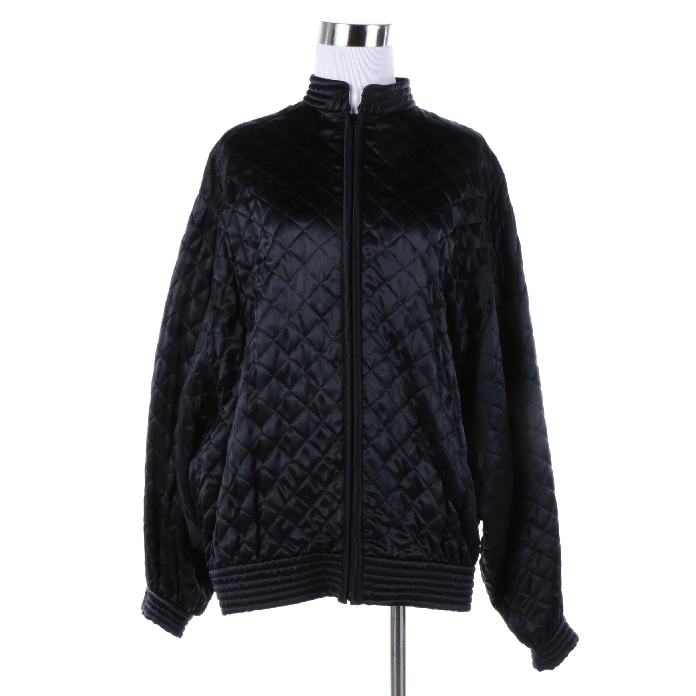 Women's Vintage Valentino Boutique Black Quilted Silk Jacket