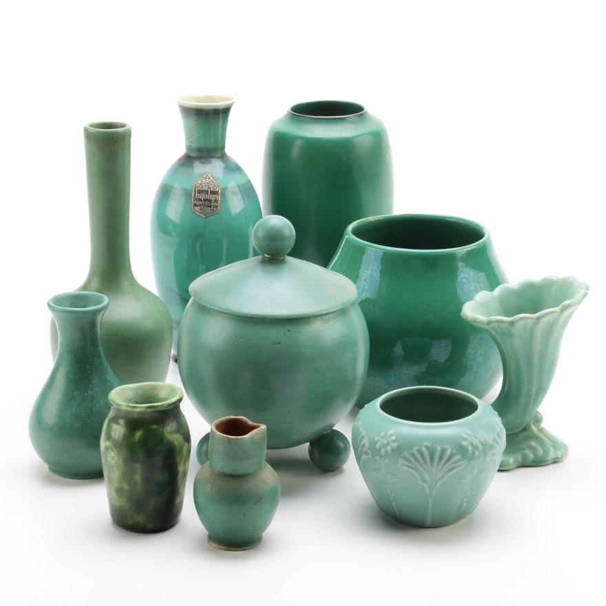 Vintage Green Art Pottery Including Royal Haeger And Hyalyn Ebth