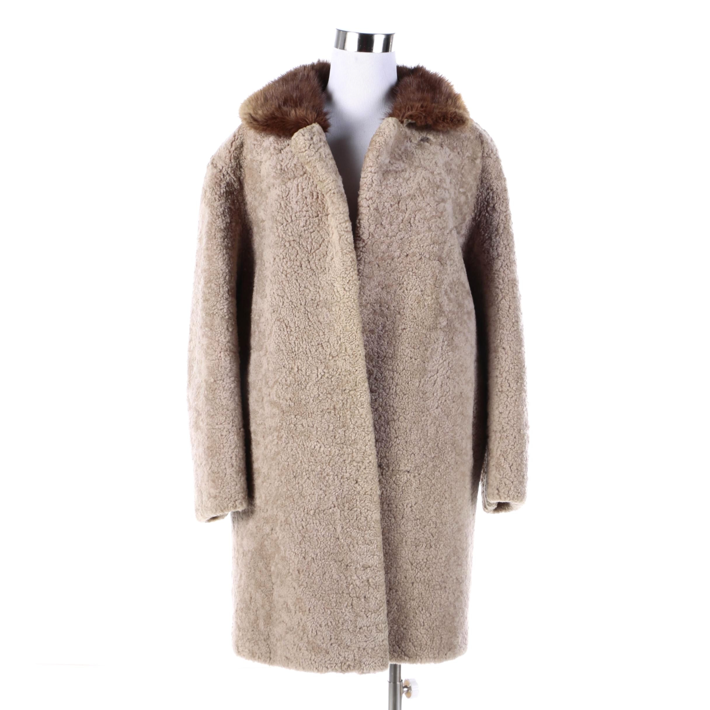 Women's Vintage Shearling Coat with Beaver Fur Collar
