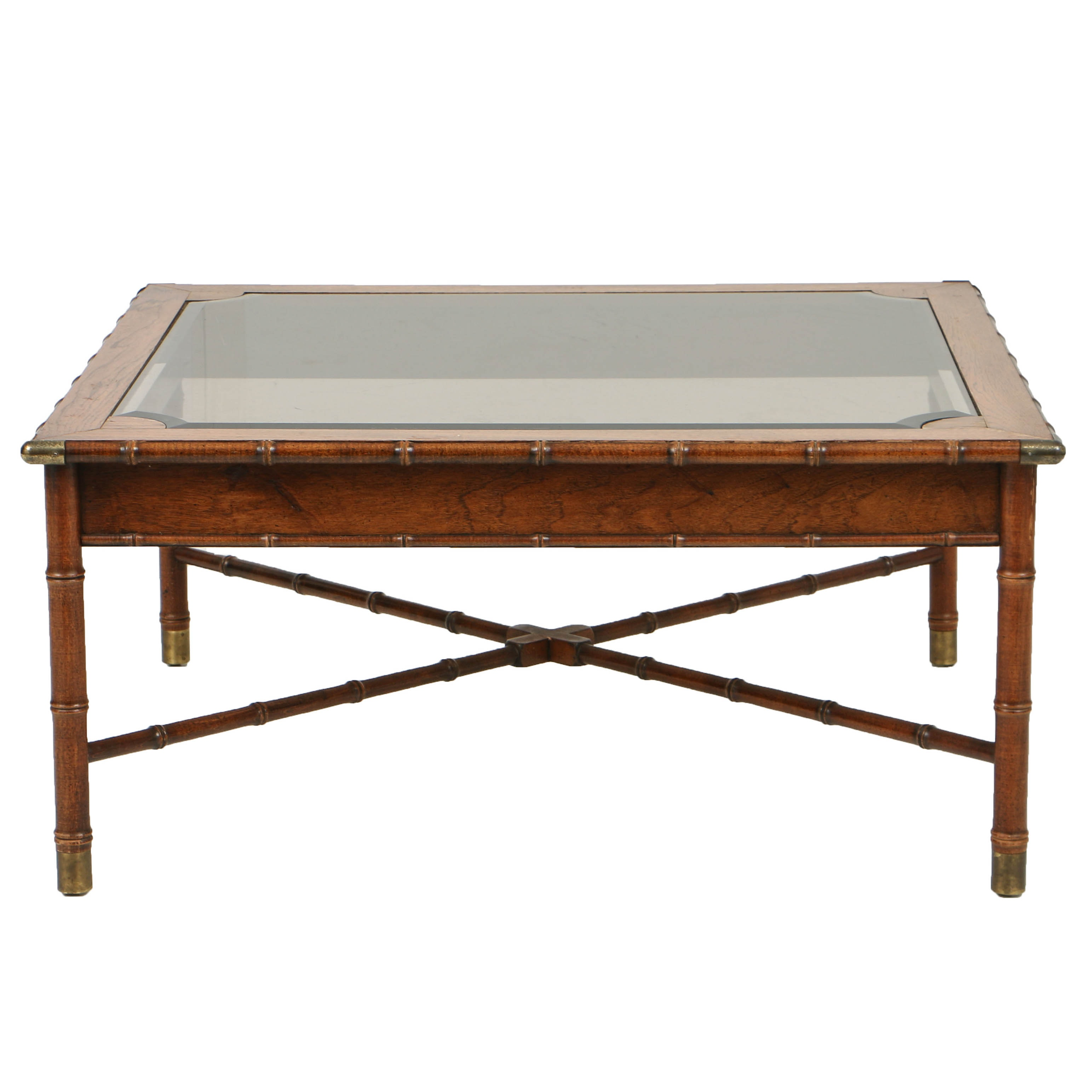 Vintage Faux-Bamboo Coffee Table with Glass Top