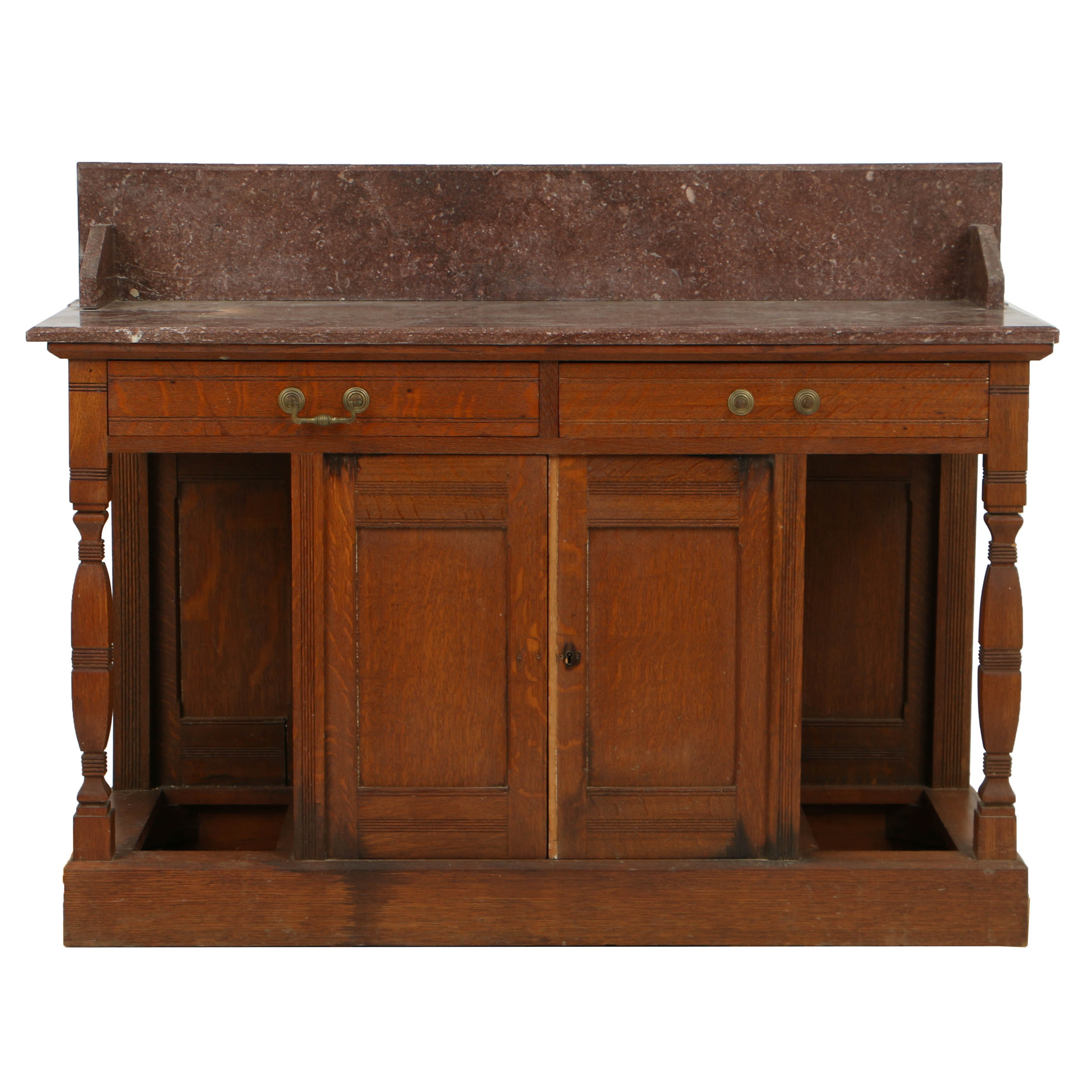 Antique Victorian Oak Server with Rouge Marble Top, Late 19th Century