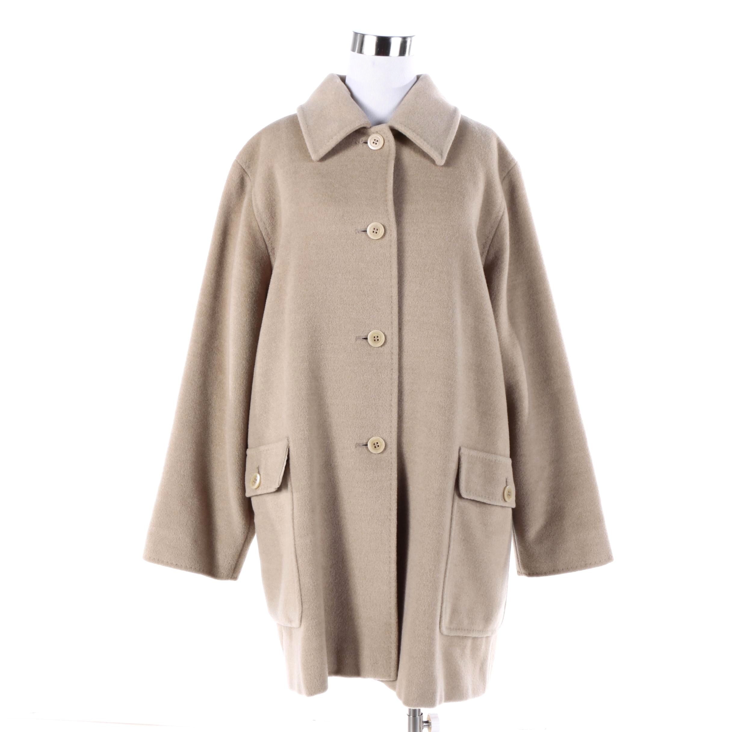 Women's Max Mara Beige Cashmere Wool Blend Coat