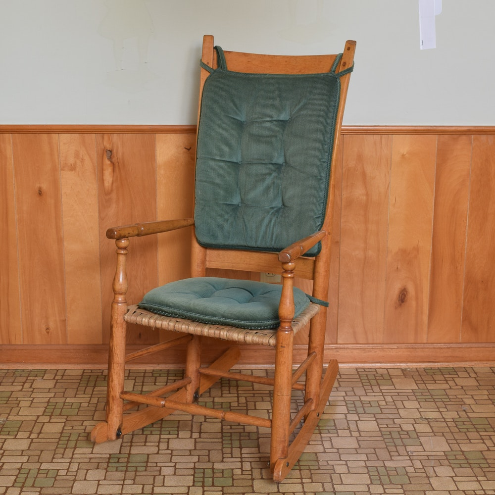 Vintage Wood Rocking Chair with Woven Seat