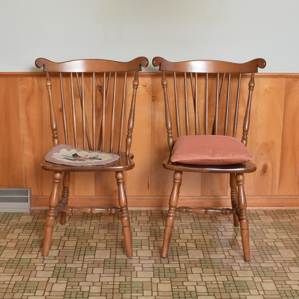 Two Colonial Style Windsor Maple Chairs