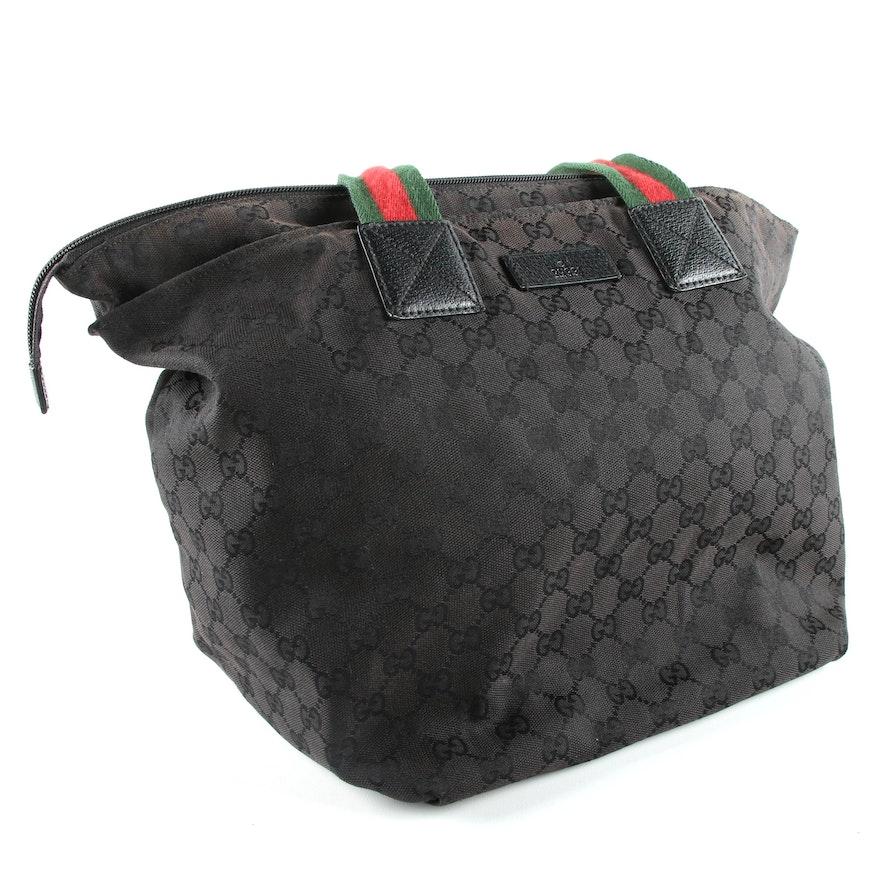 412b4a765f48 Gucci Black GG Canvas North-South Tote Bag | EBTH