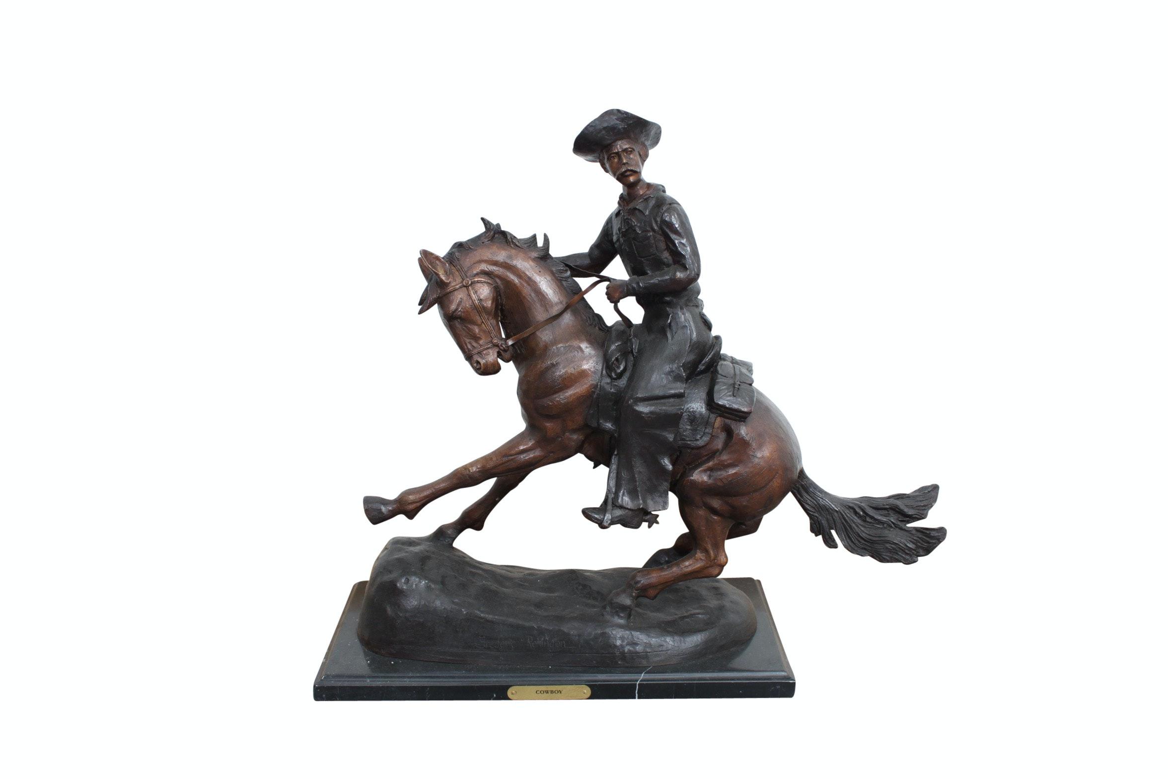 """Bronze Sculpture After Frederic Remington """"The Cowboy"""""""