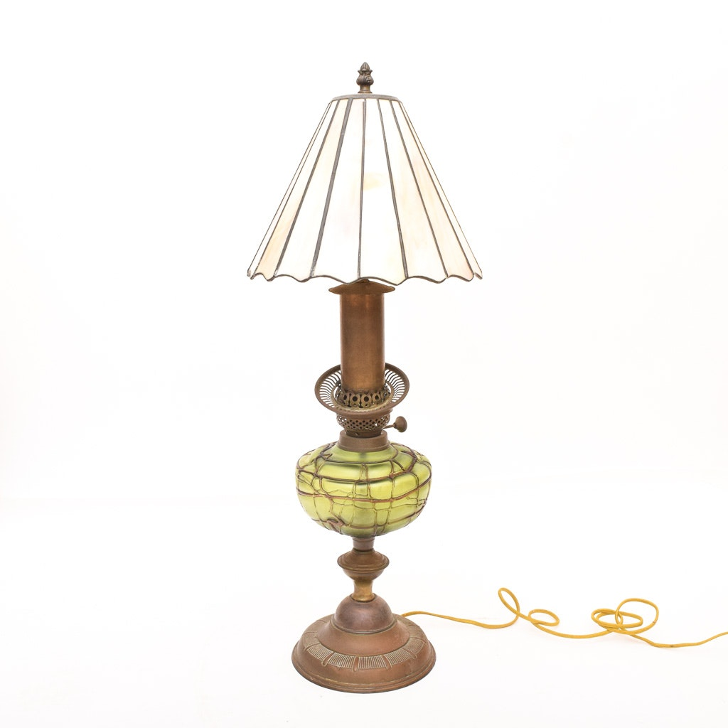Antique Converted Brass and Glass Kerosene Lamp with Leaded Shade
