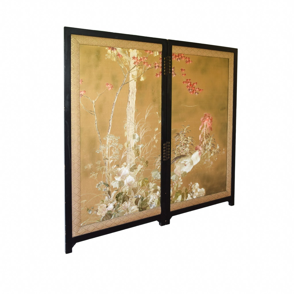 Antique Japanese Meiji Period Hand-Embroidered Screen