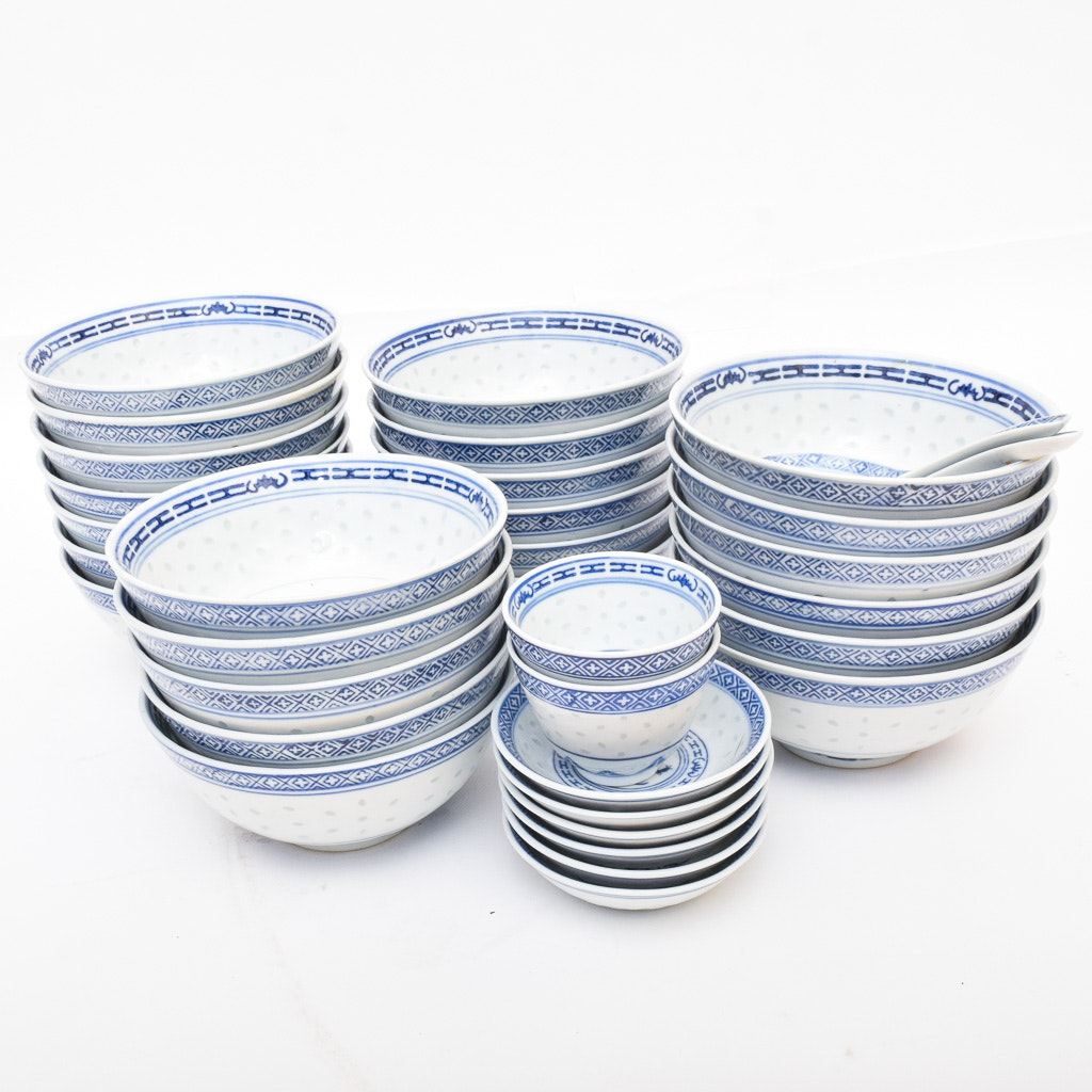 """Chinese """"Rice Grain"""" Porcelain Bowls and Other Tableware"""
