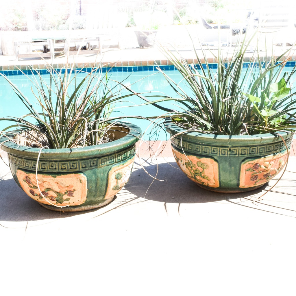 Pair of Asian Style Ceramic Planters