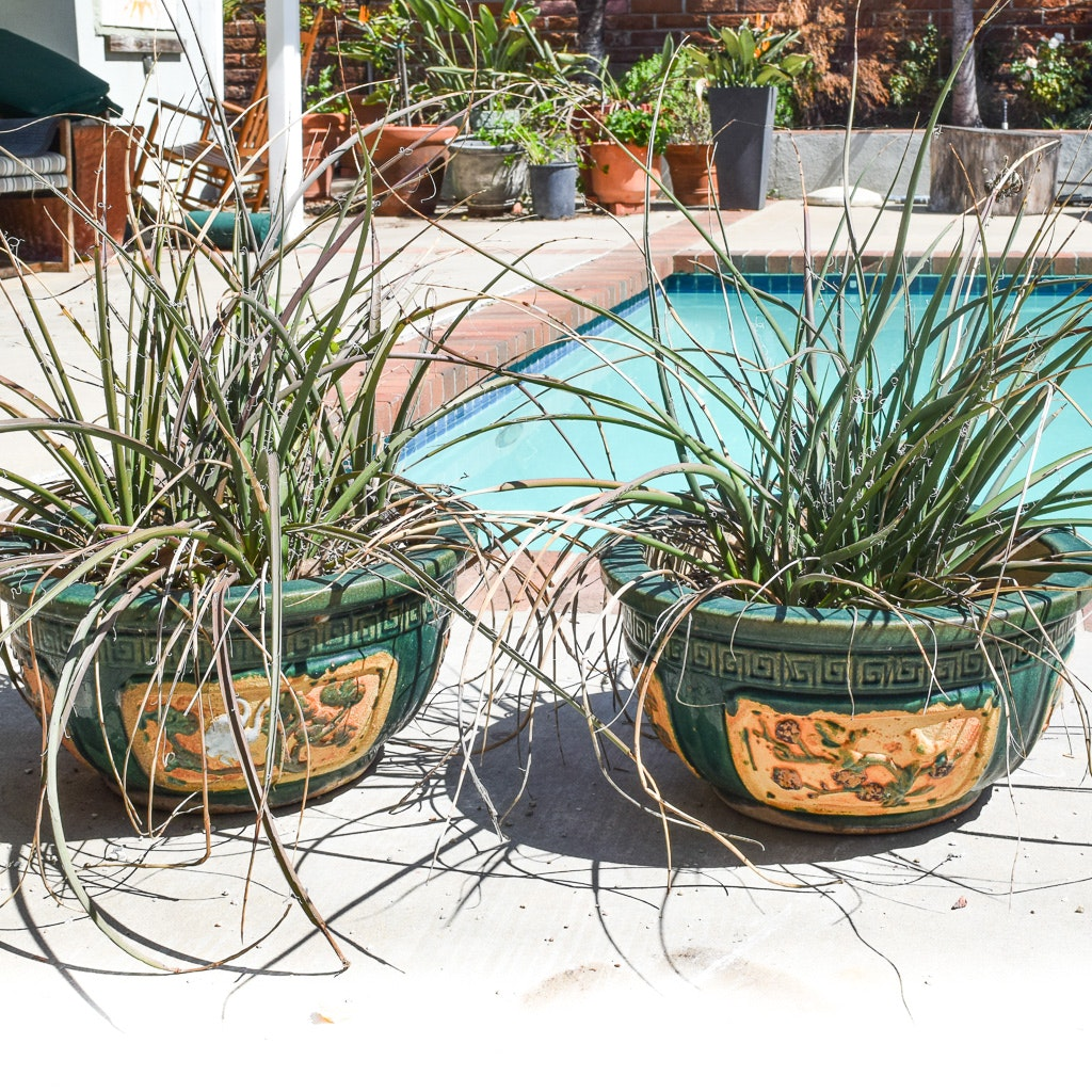 Ceramic Asian Style Planters with Meander Designs