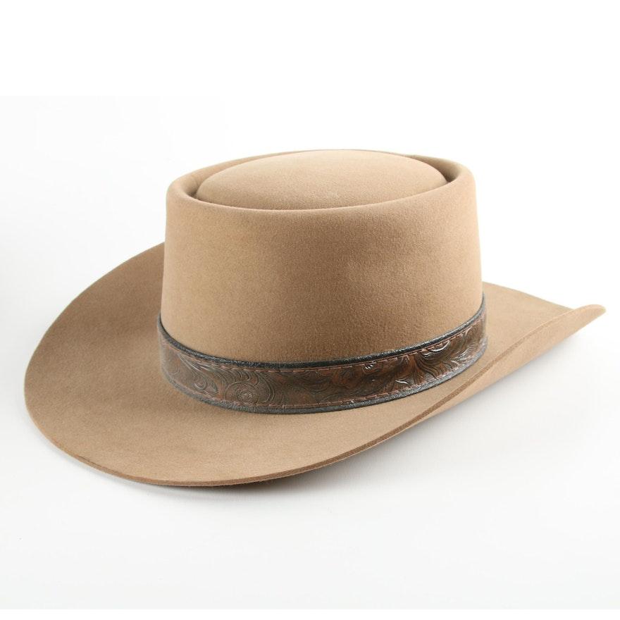 fdbaaad2c958a Men s Vintage Stetson Tan Felted 5X Beaver Fur Cowboy Hat   EBTH