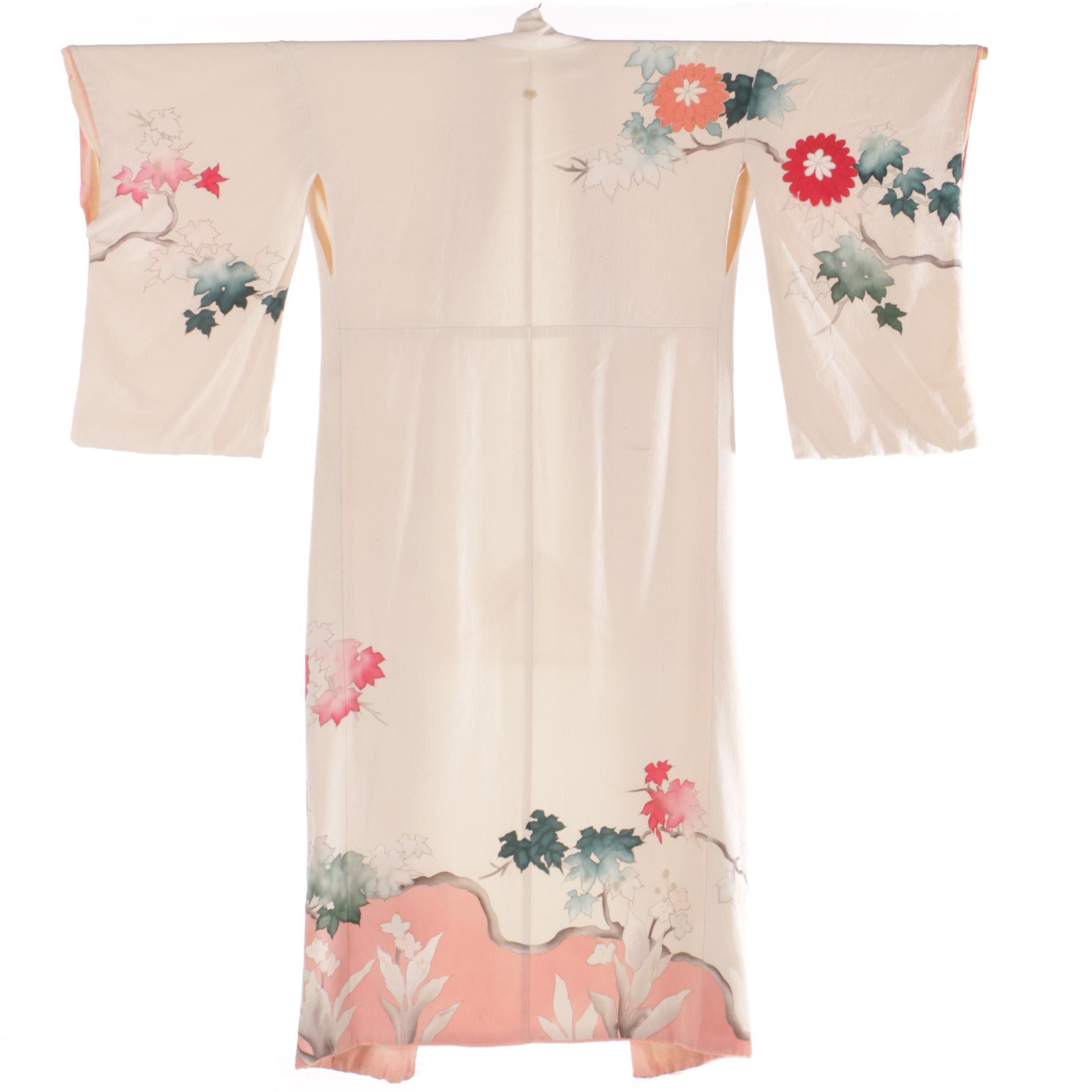 Vintage Japanese Silk Crepe Kimono