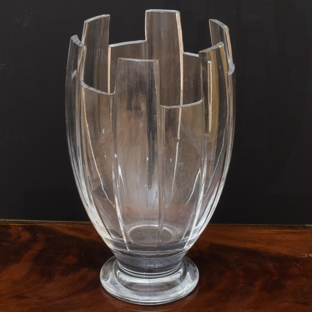Crystal Vase with Castellated Rim
