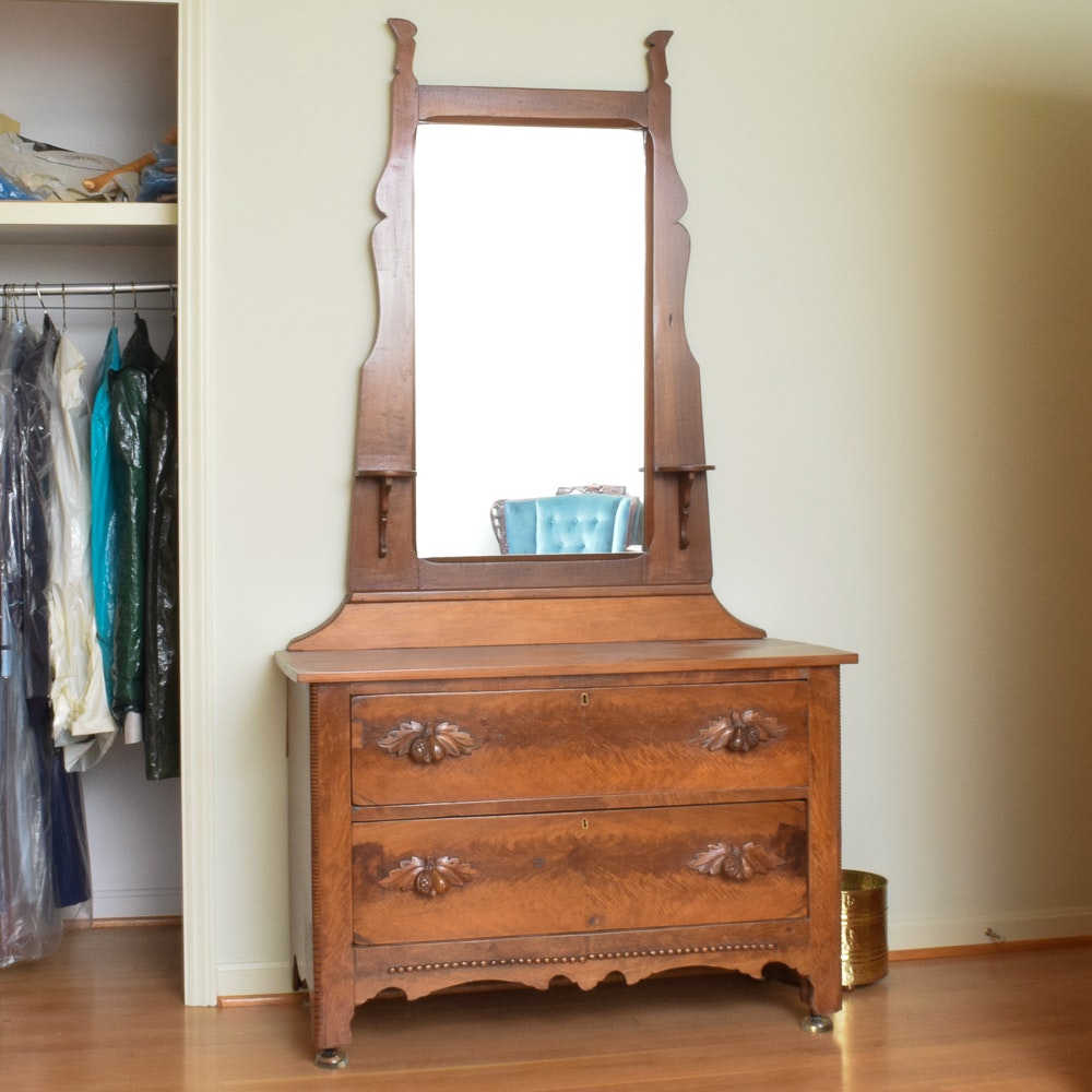 Antique Victorian Walnut Chest of Drawers with Mirror