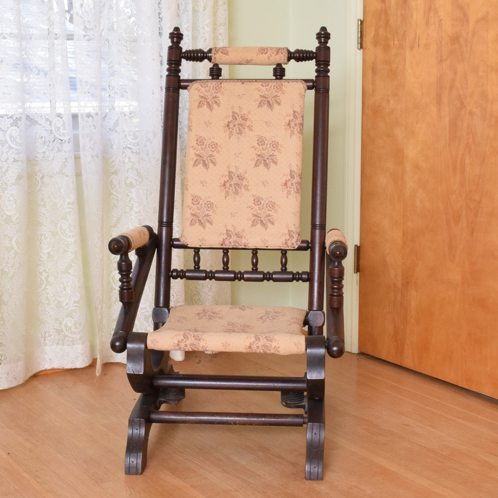 Antique Victorian Stationary Rocking Chair