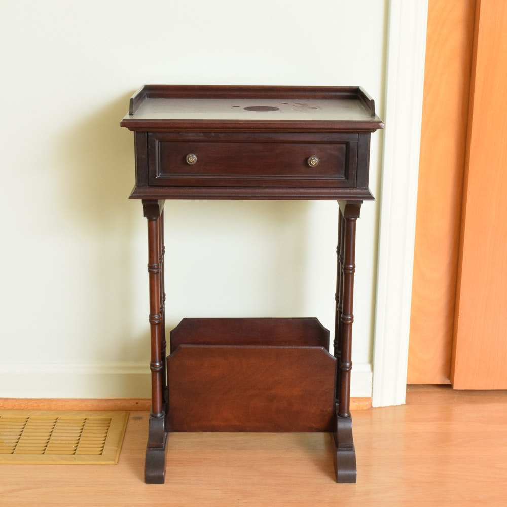 Mahogany Side Table with Magazine Rack