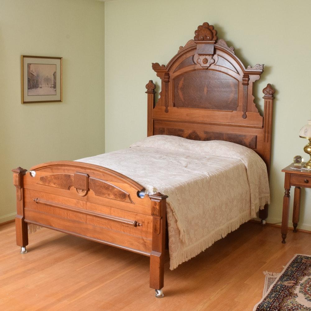 Antique Eastlake Style Full Size Walnut Bed
