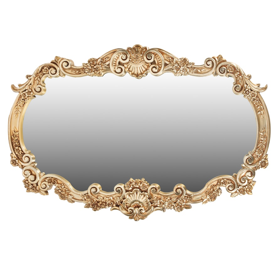f0161ea539a Large Ornate Baroque Style Gold Toned Wall Mirror