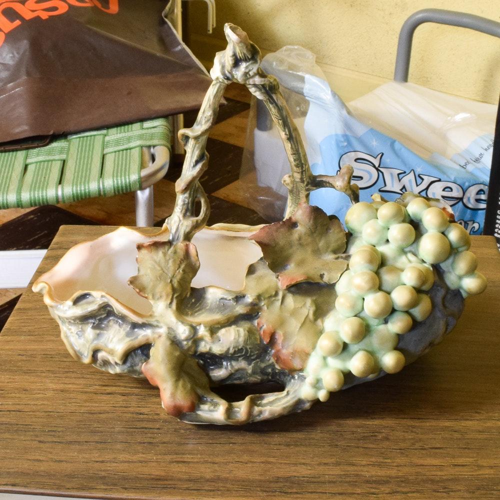 Grape and Leaf Motif Ceramic Basket
