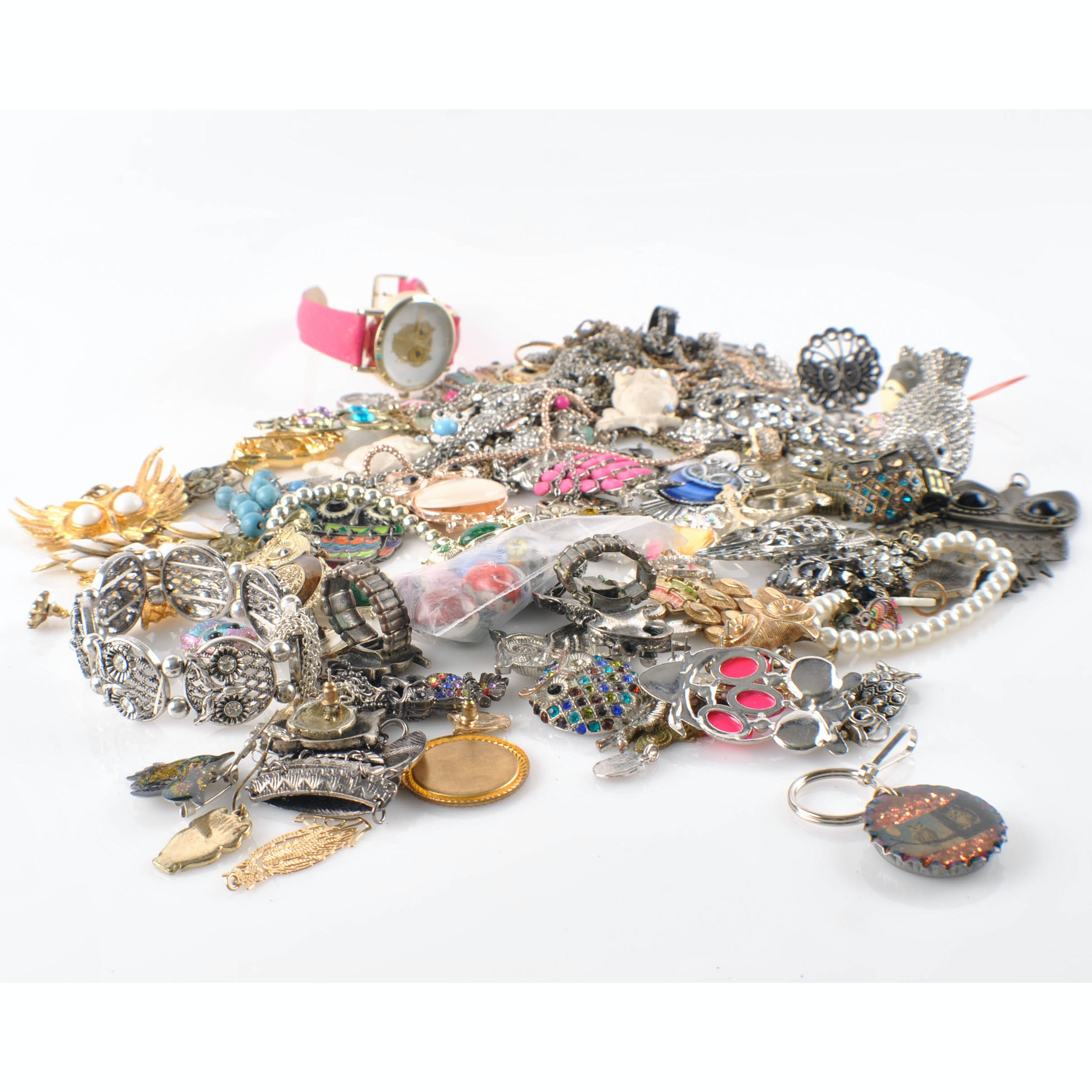 Large Collection of Vintage and Contemporary Owl Jewelry