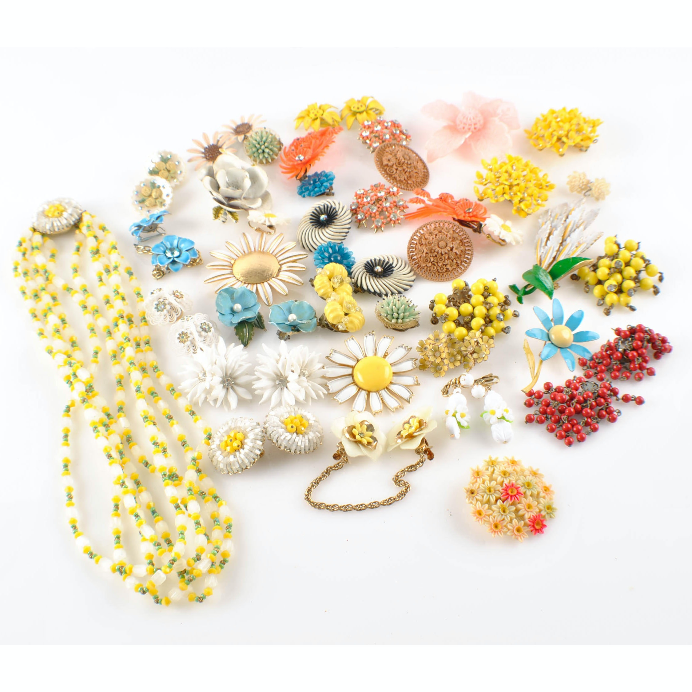 Collection of Mid Century Floral Kitsch Jewelry
