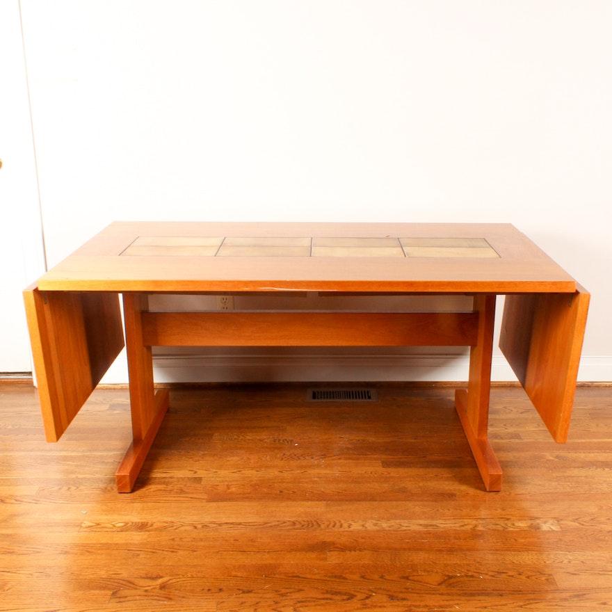 Danish Modern Tile Top DropLeaf Dining Table EBTH - Danish modern dining table with leaves