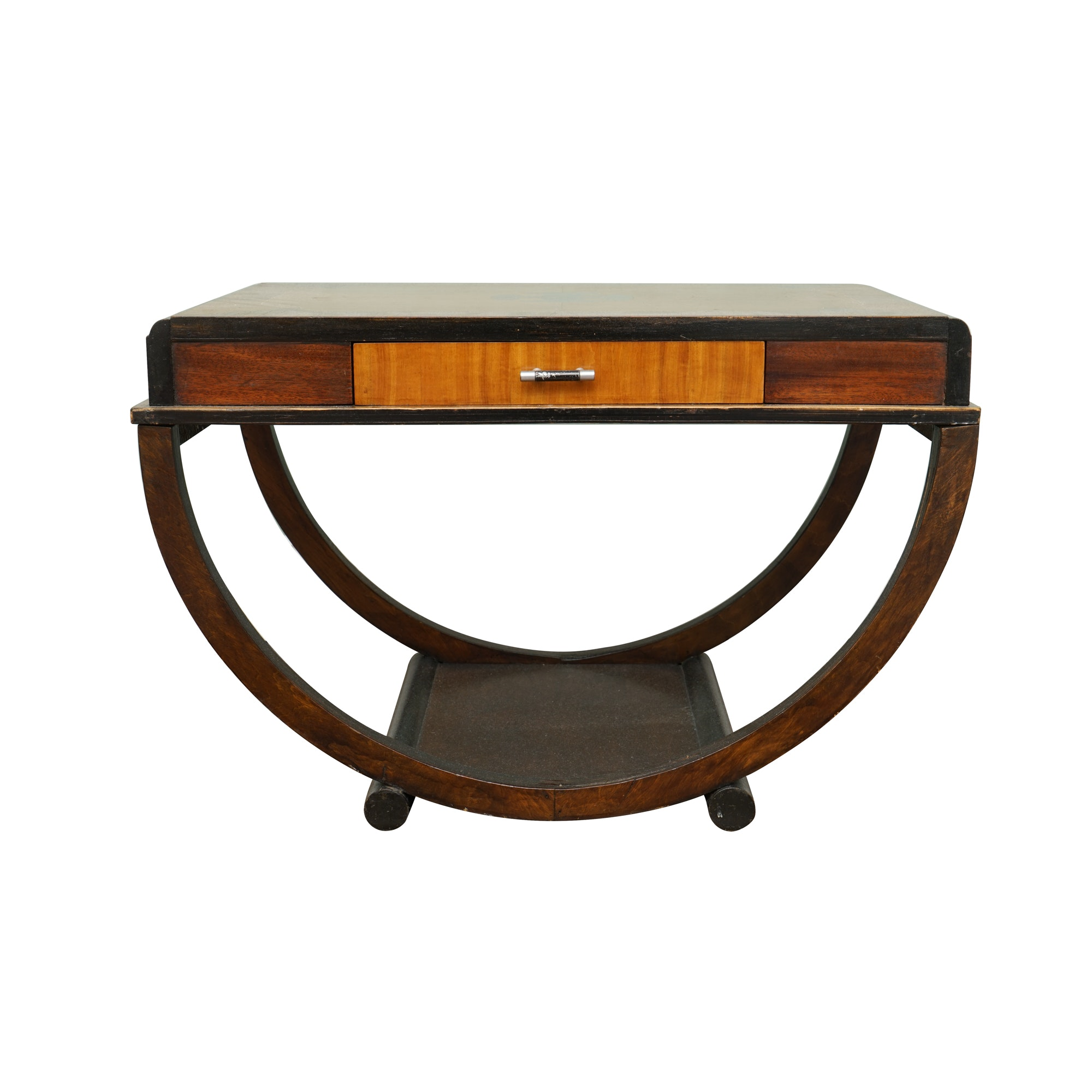 Art Deco Inlaid Walnut One-Drawer Side Table