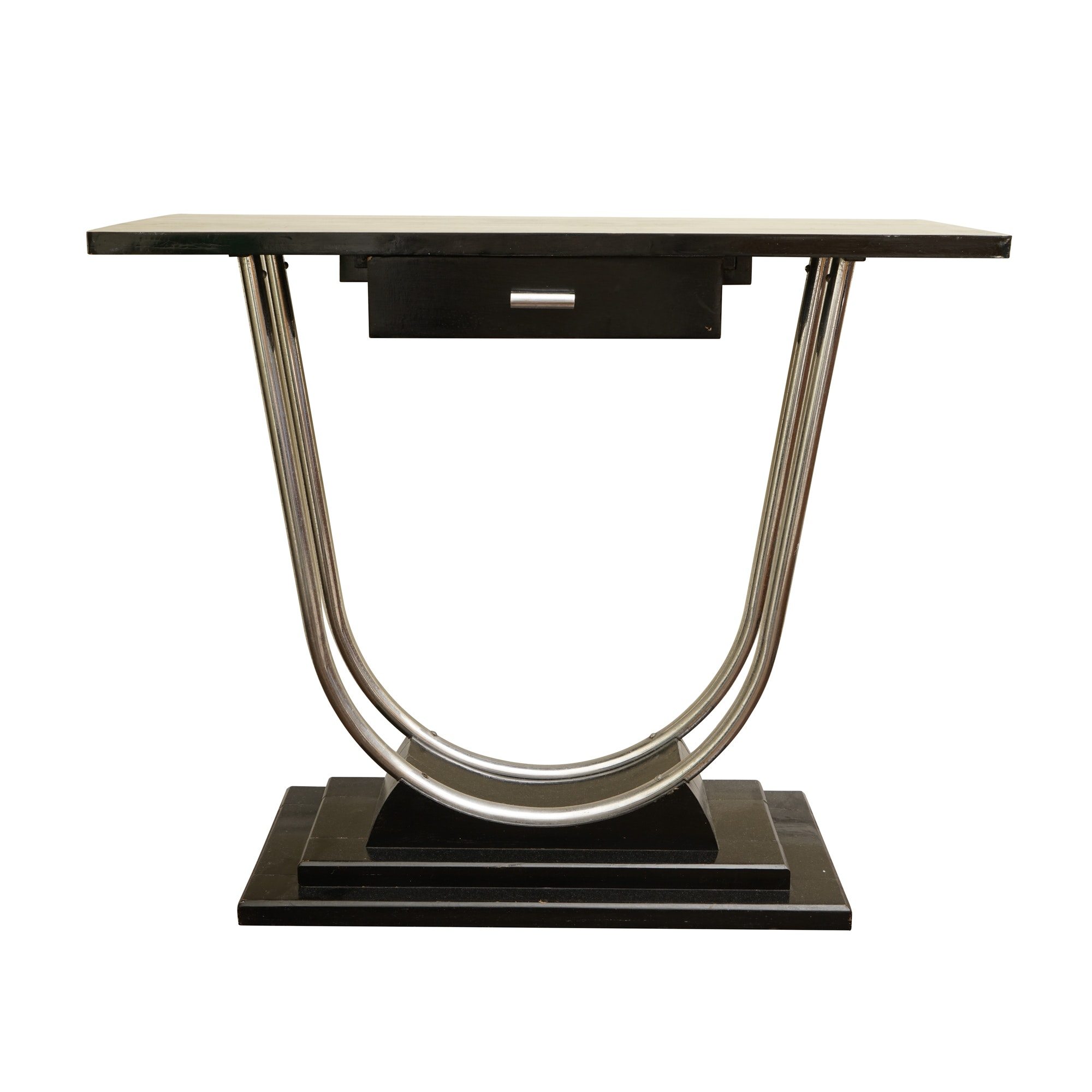 Art Deco Chromed Metal and Ebonized Wood Console Table