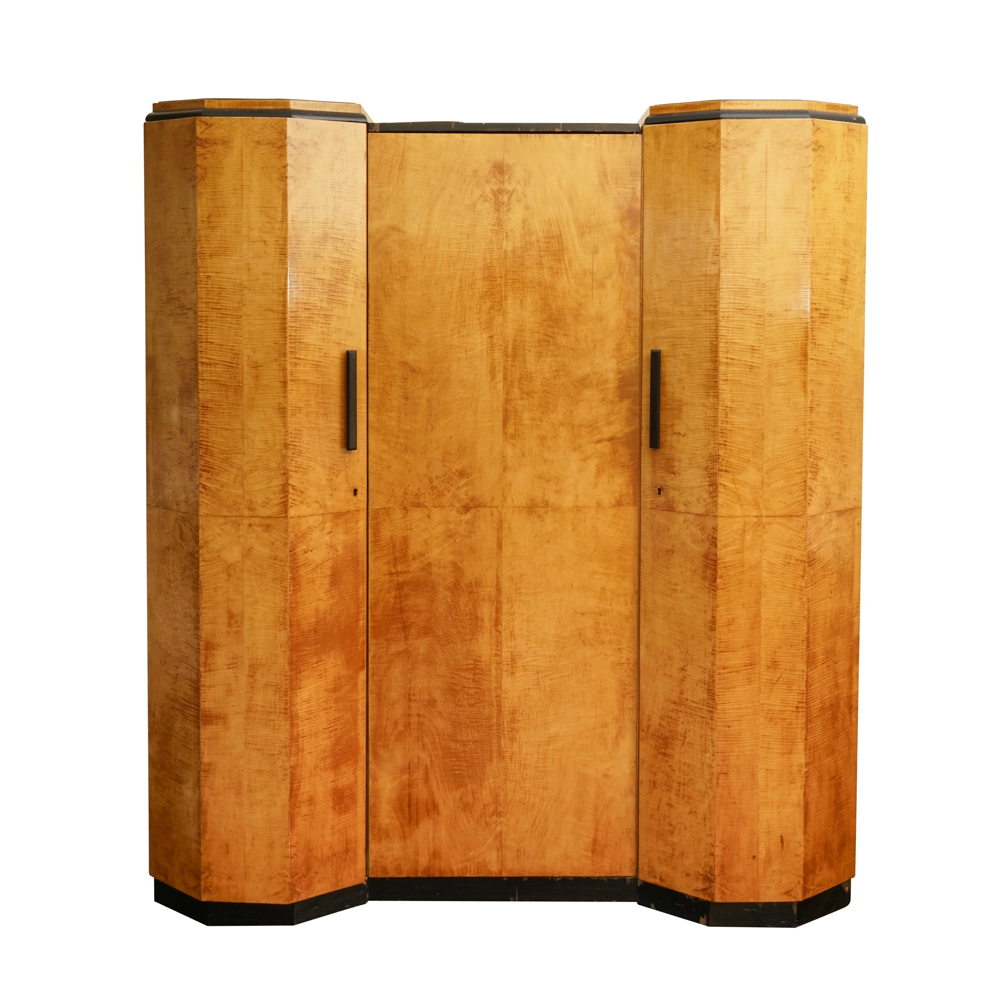 English Art Deco Satin Birch Wardrobe