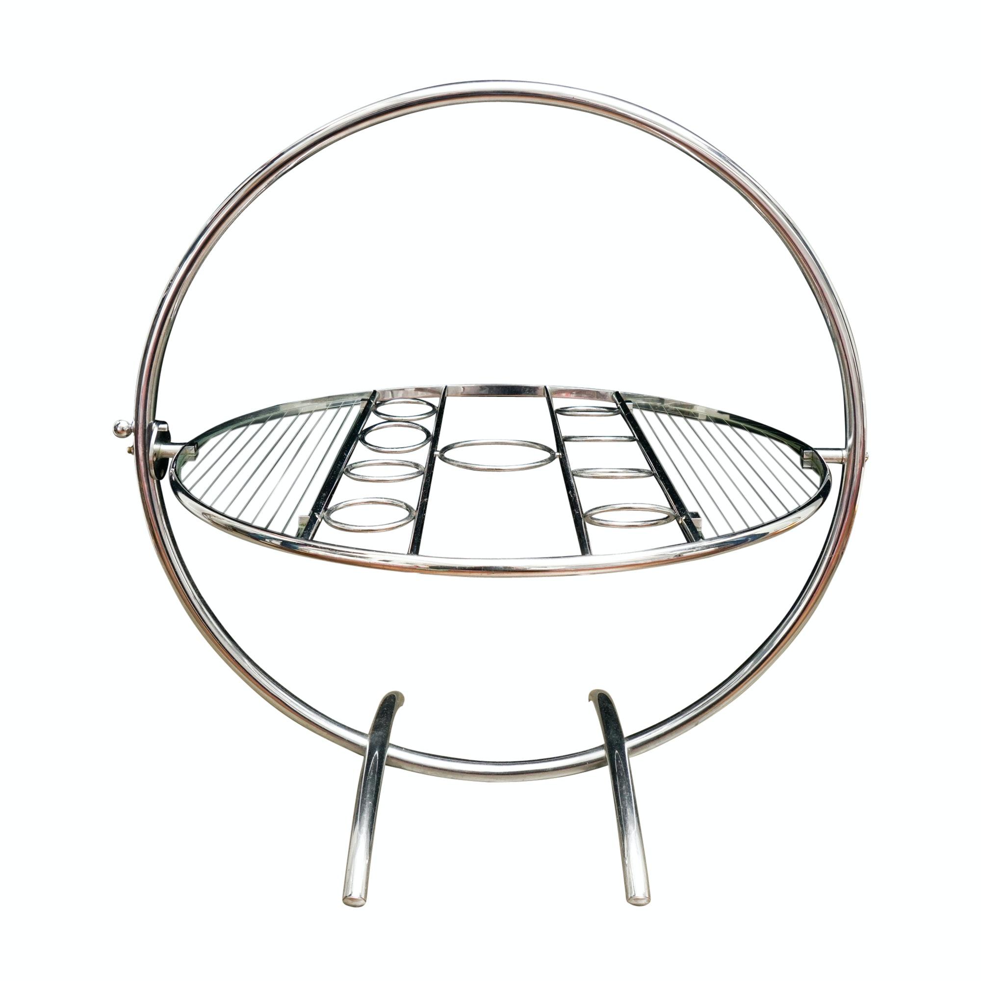 Art Deco Chromed Metal Tilt-Top Cocktail Table