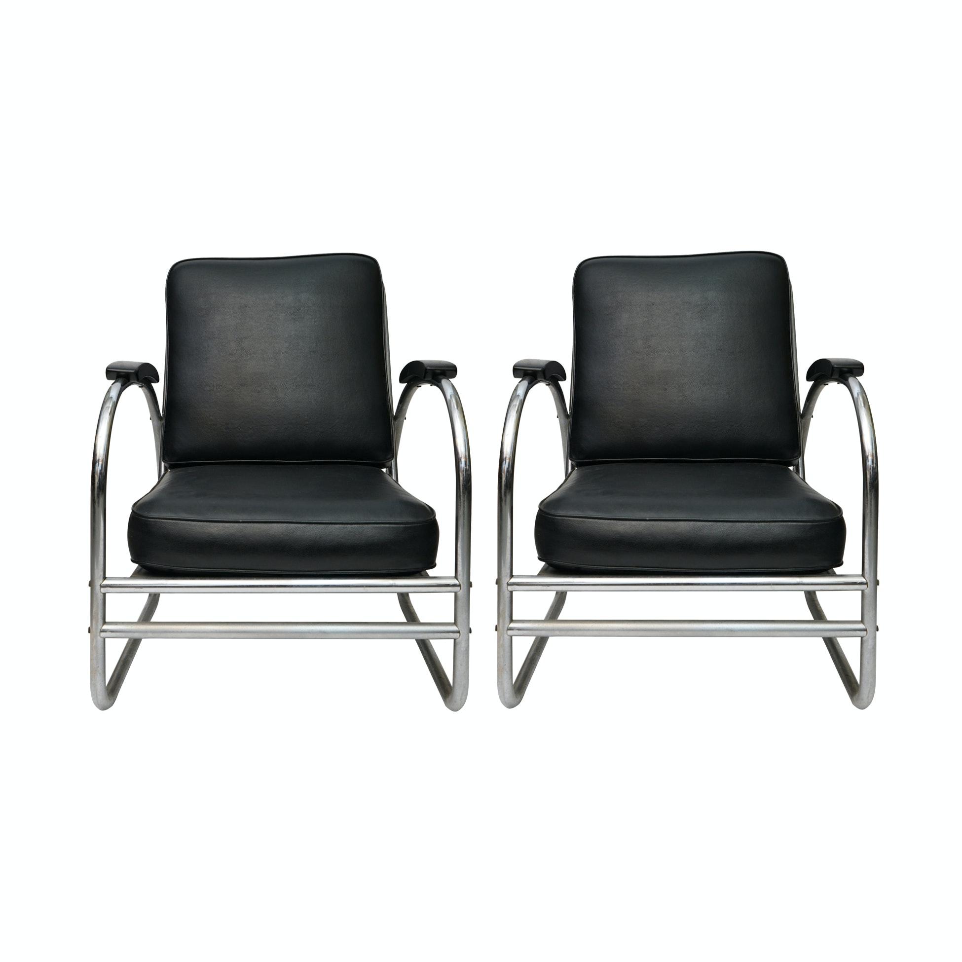 Pair of Wolfgang Hoffman Chromed Metal Lounge Chairs