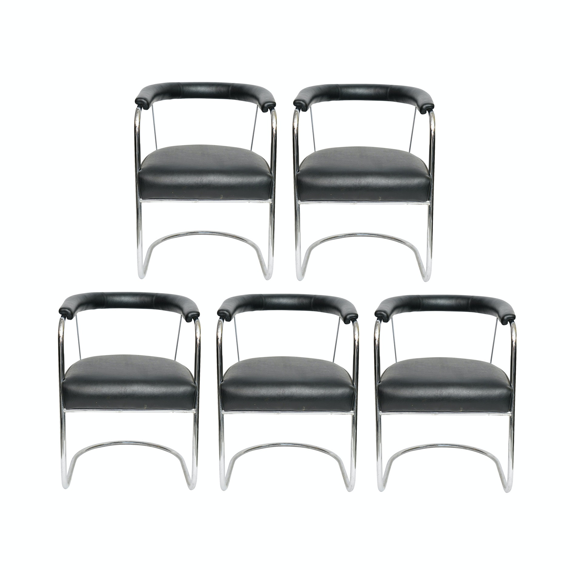 Set of Five 'SP4' Chromed Metal Armchairs, after O.P. Bernard for P.E.L.