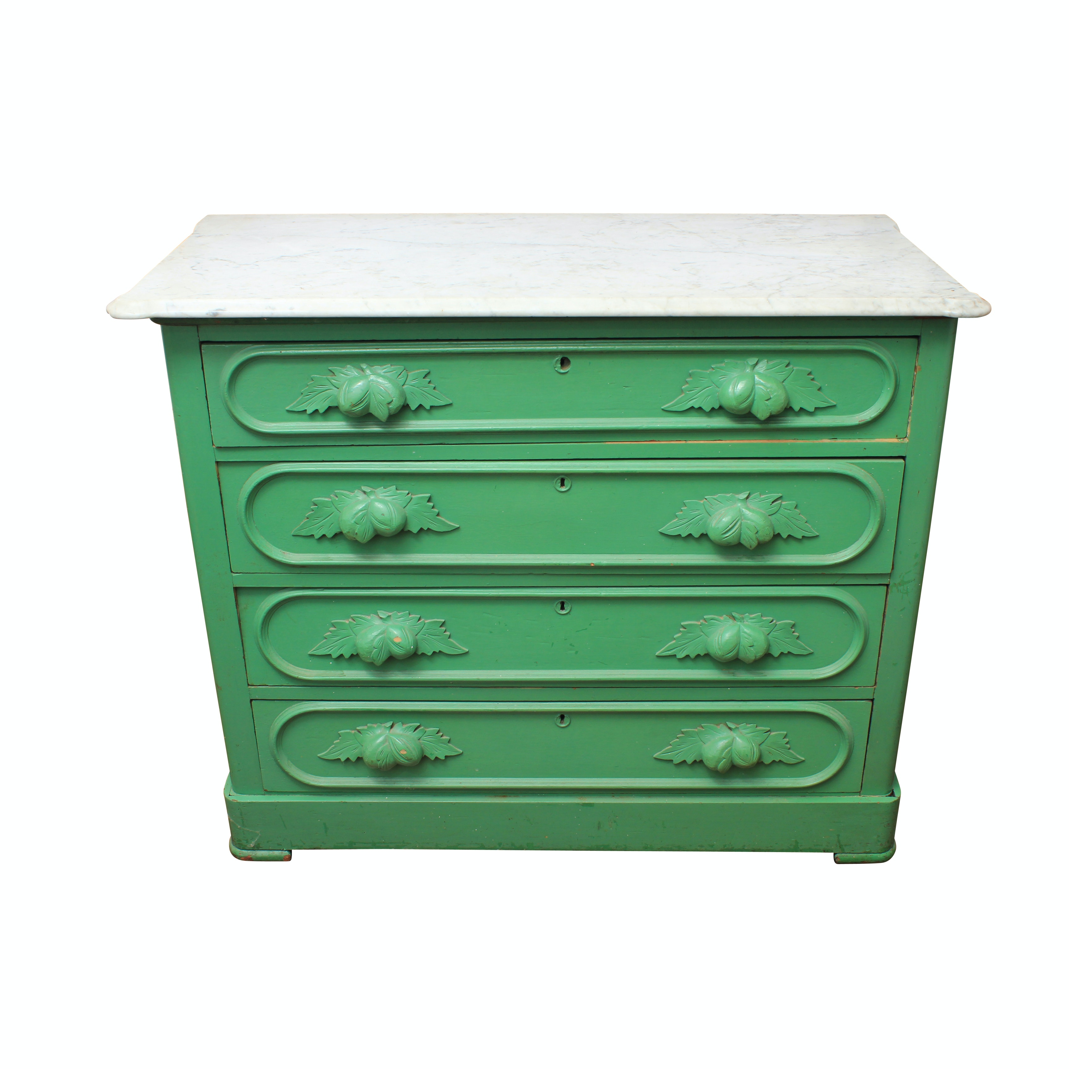 Antique Victorian Marble Top Painted Chest Of Drawers ...