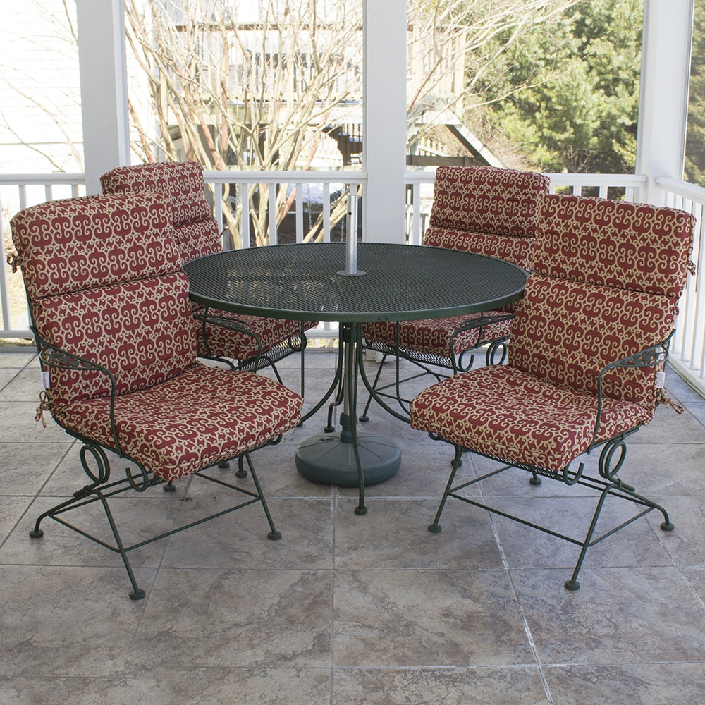 sunbeam patio table and chairs with hampton bay cushions ebth rh ebth com sunbeam patio table parts sunbeam patio furniture cushions