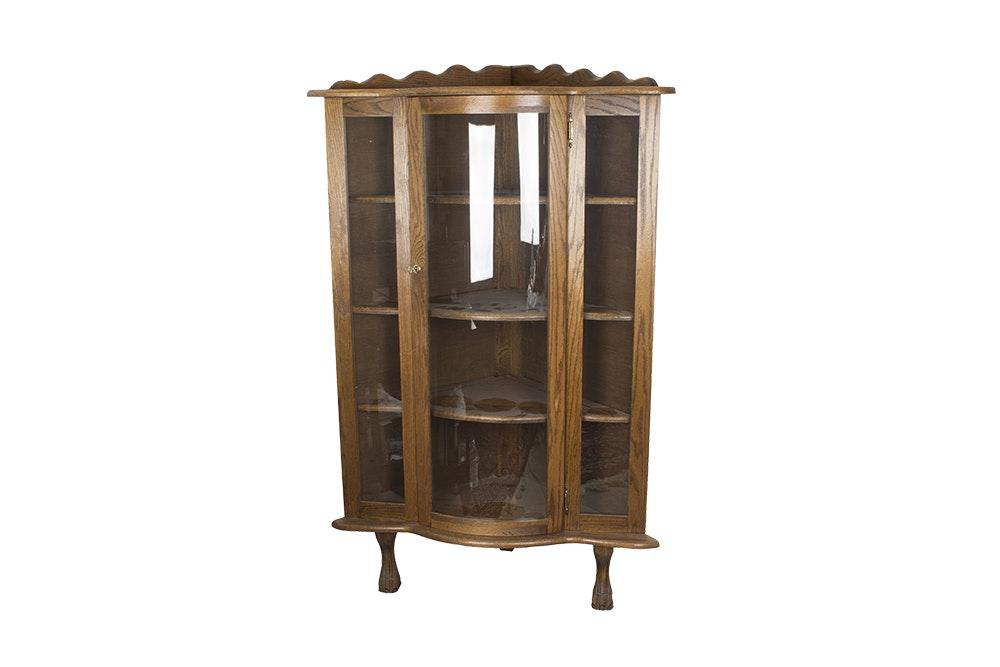 Oak Bow Front Corner Curio Cabinet ...