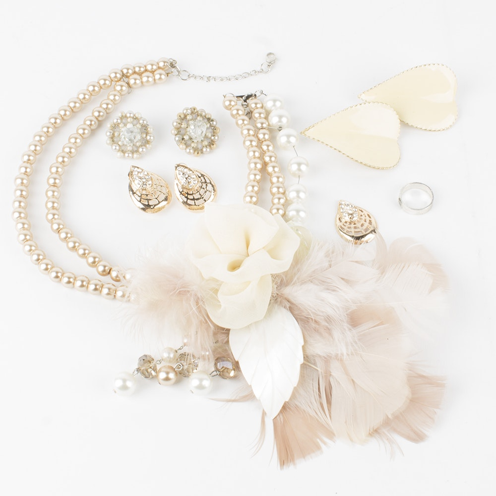 Feather and Imitation Pearl Costume Jewelry