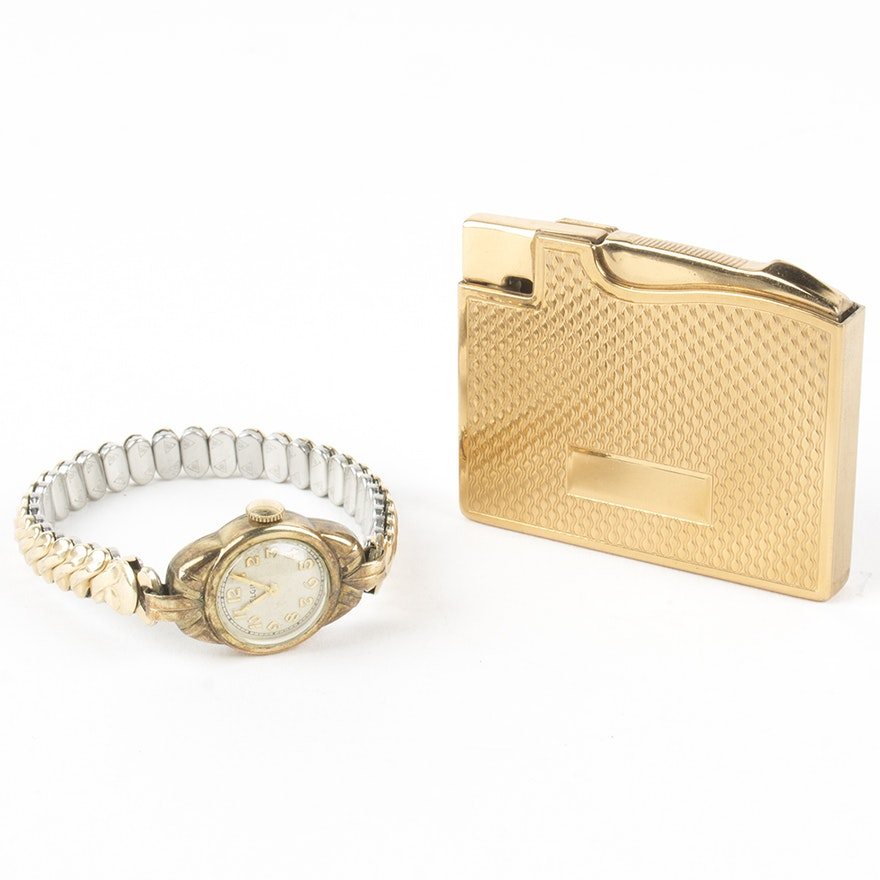 Vintage Retro Style Elgin Wristwatch and Lighter