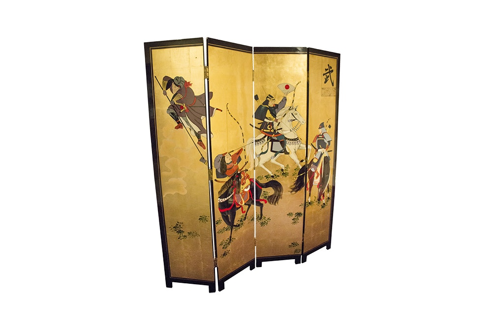 Japanese Painted Four Panel Screen