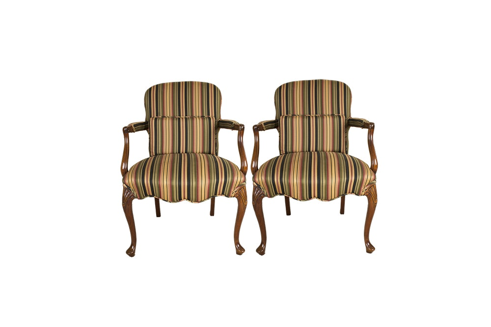 Pair of Stripe Upholstered Armchairs
