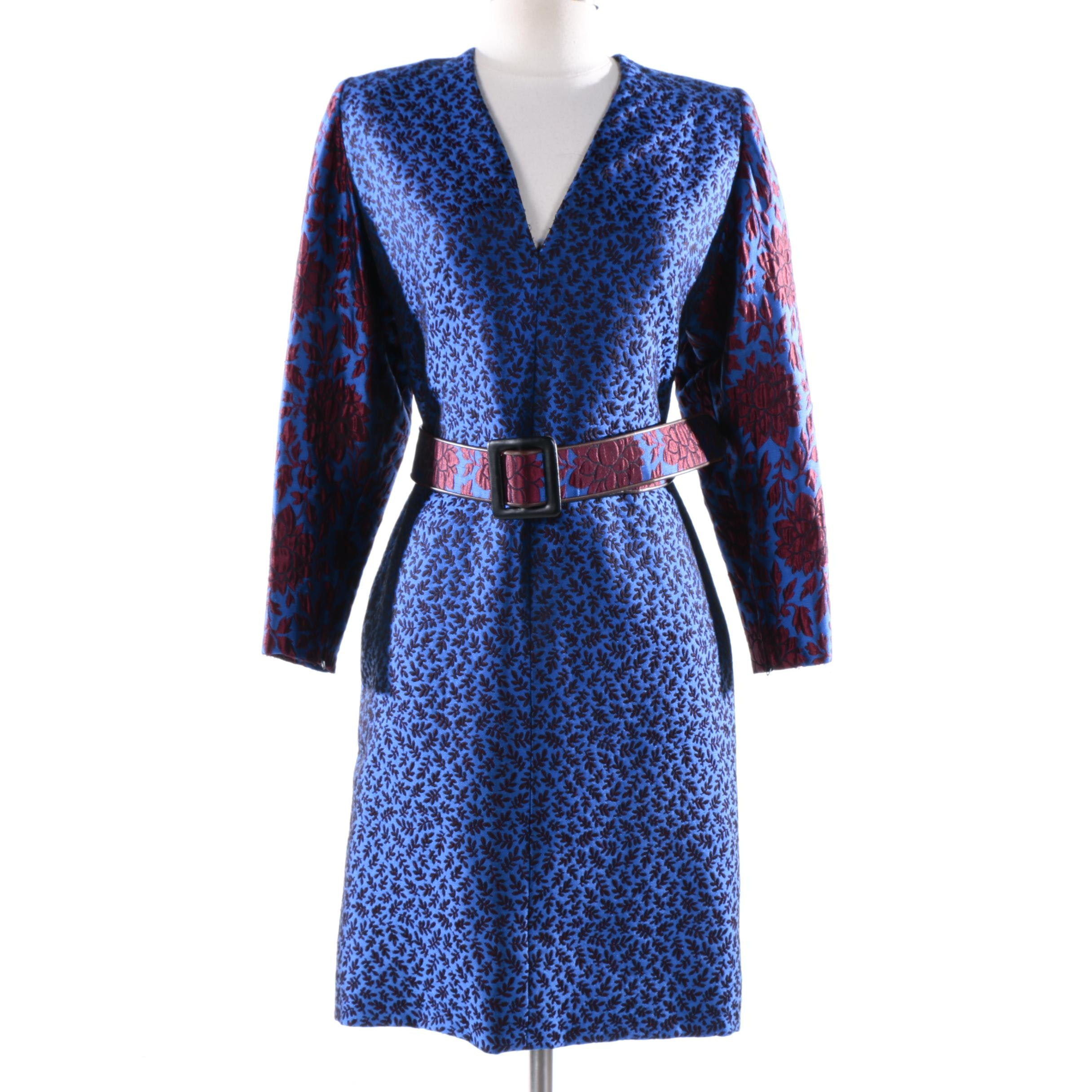 Circa 1980s Vintage Galanos Blue and Red Floral Brocade Dress